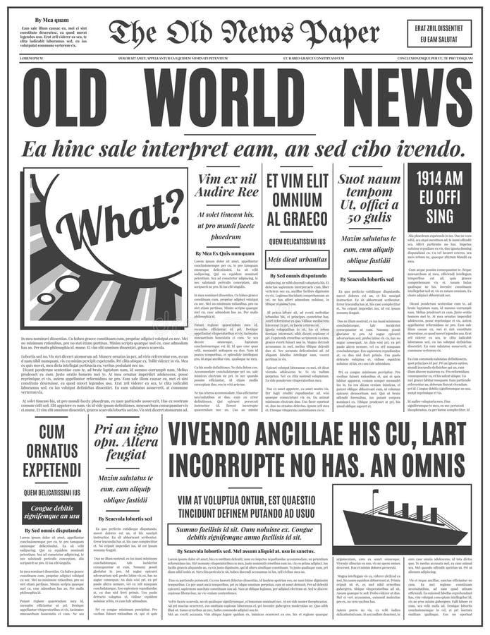 Old Newspaper Design Vector Template Stock Vector Illustration Of