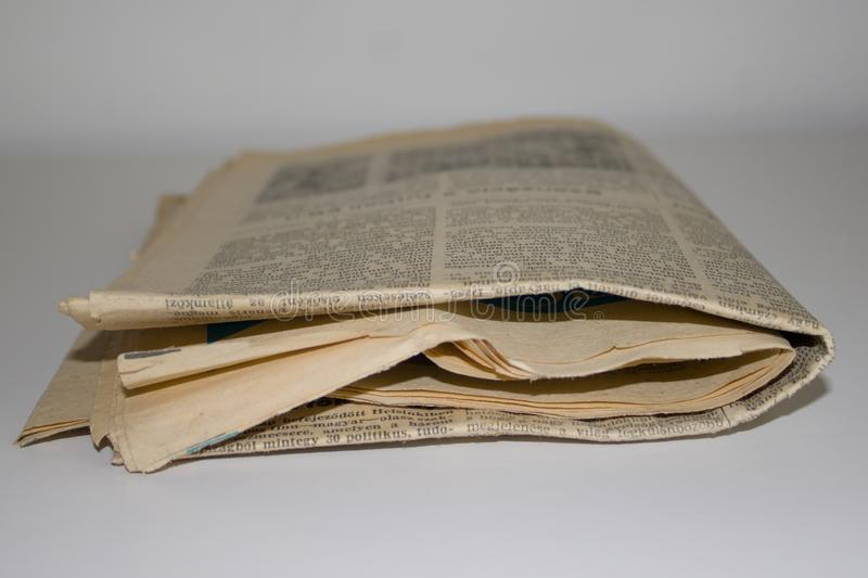 Old newspaper. With white background royalty free stock images