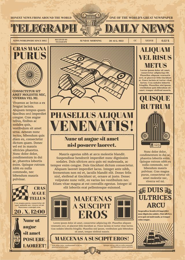 Old newspaper vector template. Retro newsprint with text and images. Newspaper vintage with text article column illustration royalty free illustration