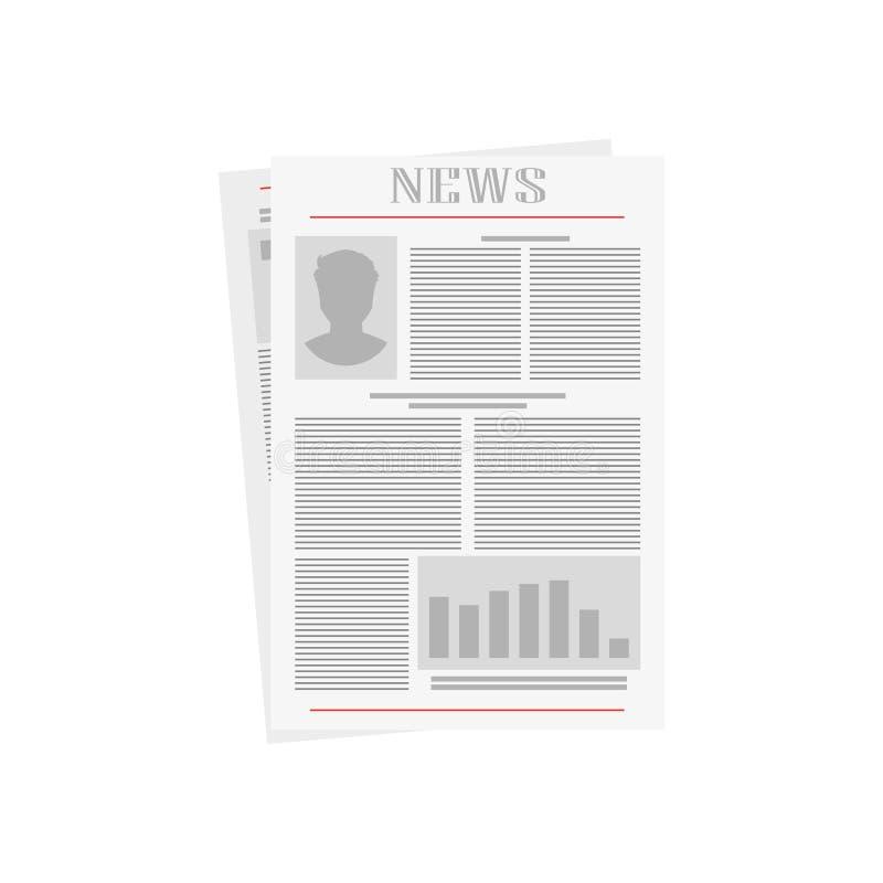 Old newspaper on white background,  illustration royalty free illustration