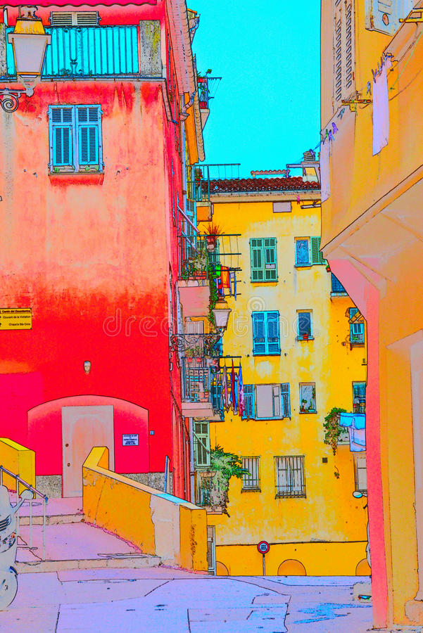 Old Nice. Streets in the old Nice with colorful houses royalty free illustration