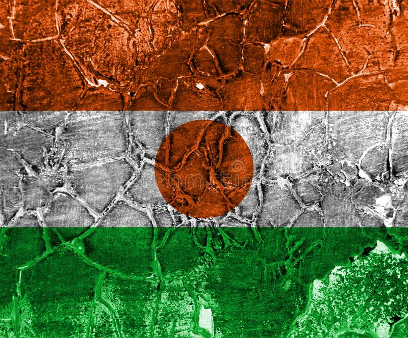 Old Niger grunge background flag.  stock image