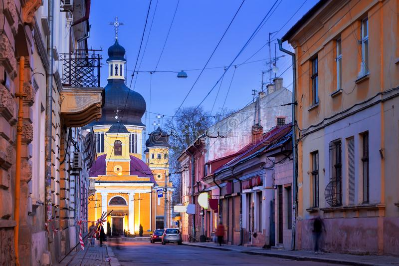 Old night street in Chernivtsi. Ukraine stock image