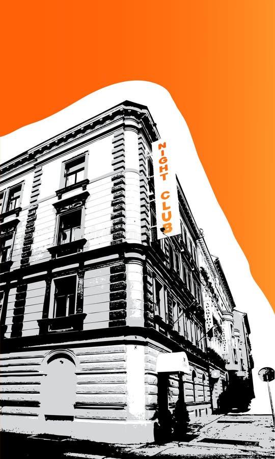 Old nightclub with orange royalty free stock photo