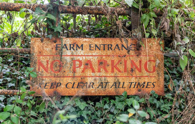 Old No Parking sign stock image