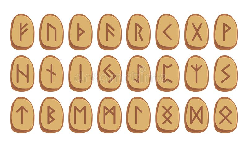 Old Norse Scandinavian runes set. Runic alphabet, futhark. Ston. Old Norse Scandinavian runes set. Runic alphabet. Futhark. Stones. Icelandic, German and Anglo vector illustration