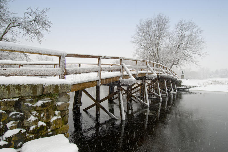 Old north bridge in snow royalty free stock photography