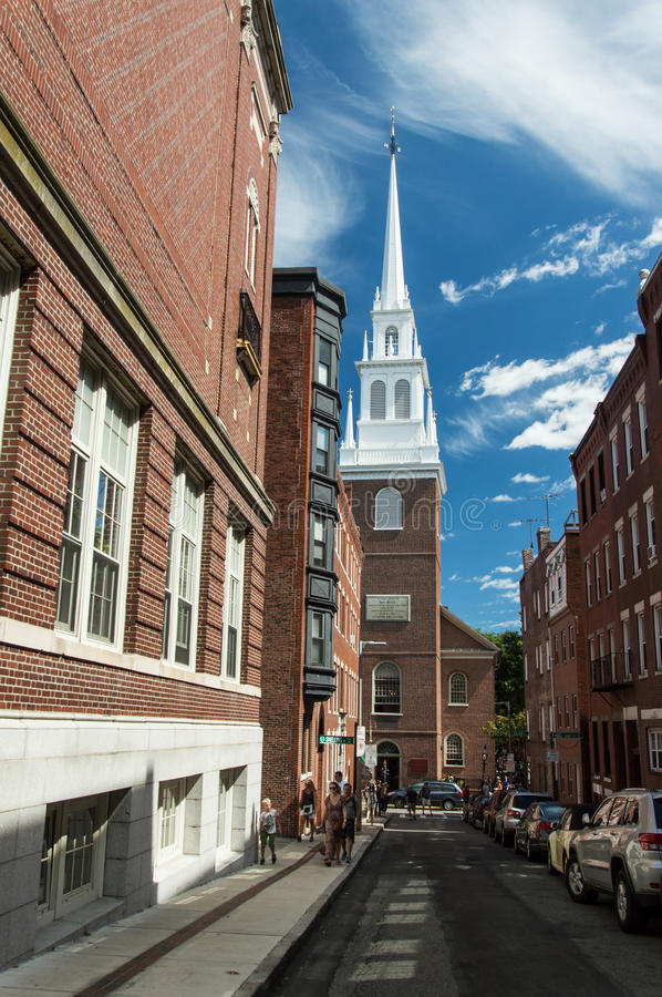 Old north church. Looking up at the steeple of the historic old north church in boston massachusetts royalty free stock photography