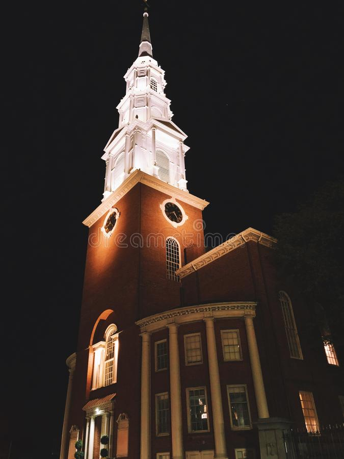 Old north church night exterior in Boston royalty free stock images