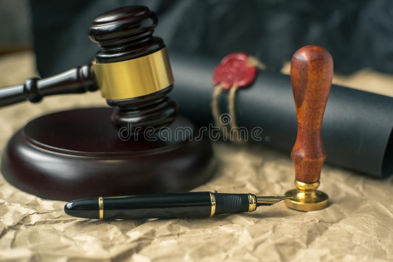 Old notarial wax seal and stamp on judicial table. Old notarial wax seal and stamp on judicial stock images
