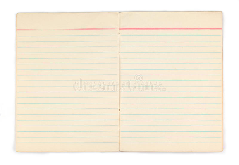 Old notebook with blank yellow pages. On white background royalty free stock image
