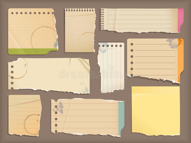 Old notebook paper royalty free illustration