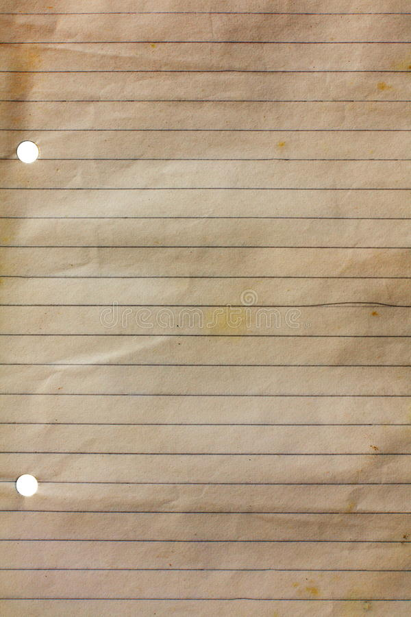 Old notebook paper royalty free stock image