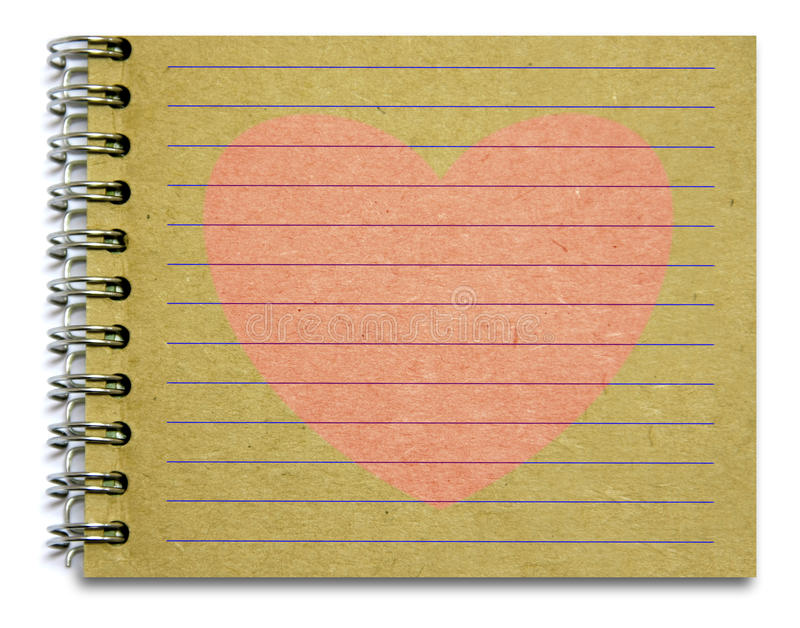 Download Old notepad pink heart stock photo. Image of notepad - 34410728
