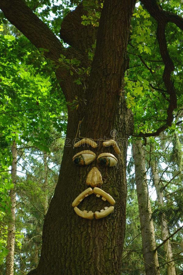 Forest guardian. Old Oak as a guardian of the forest, folk art stock images
