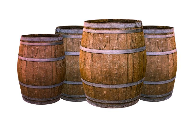 Old oak barrel aging wines flavoring flavor natural material winemaking group of large tiny white background stock photography