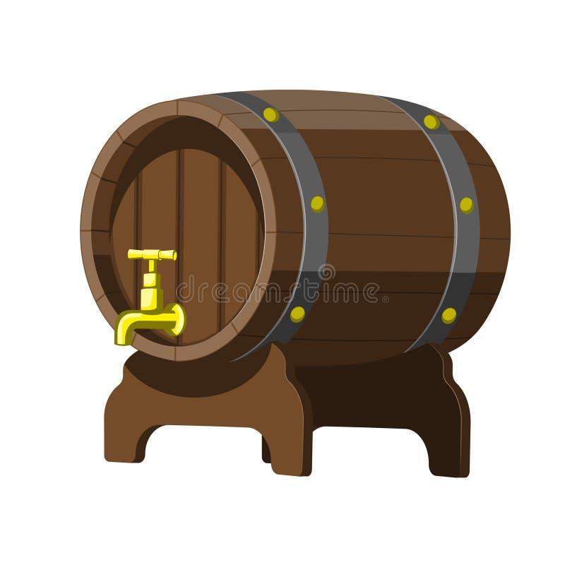 Old oak barrel for beer and alcohol. Badge emblem design. Vector image. Eps 10 stock illustration