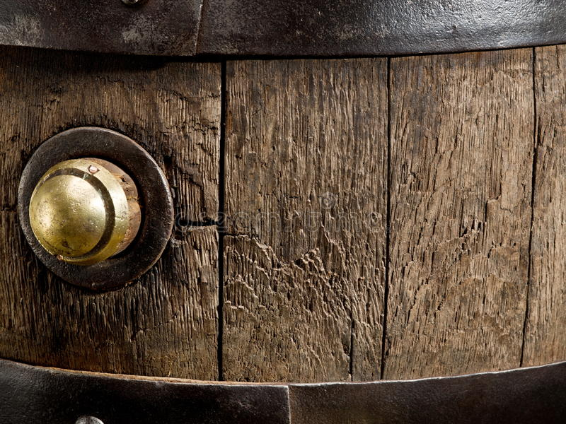 Old oak wine barrel. Close-up. This s an old wine barrel. A rather extreme close up royalty free stock image