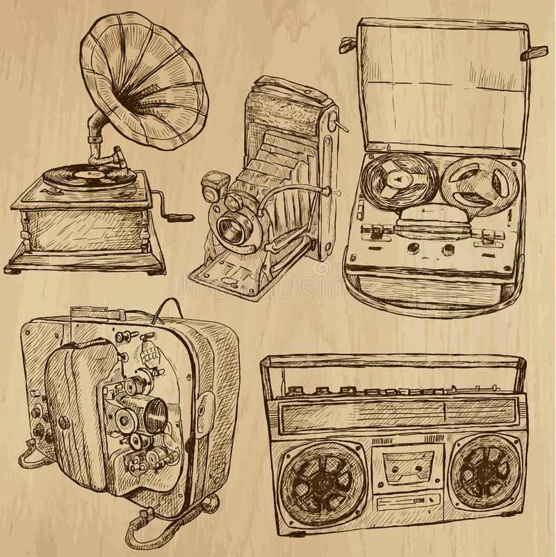 Old objects no.4 - hand drawn collection. Old Objects around the World (vector pack no.4). Collection of an hand drawn illustrations (originals). Each drawing royalty free illustration