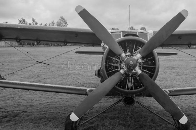 Old plane in black and white colors royalty free stock image