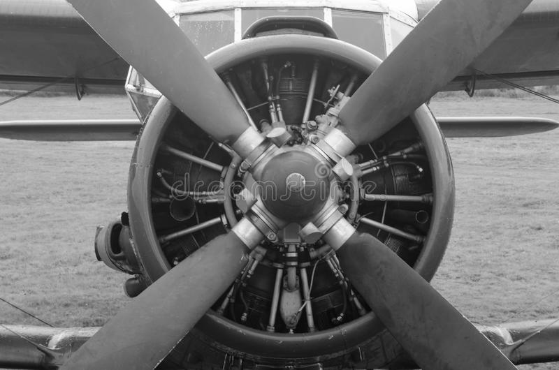 Old plane in black and white colors royalty free stock photo