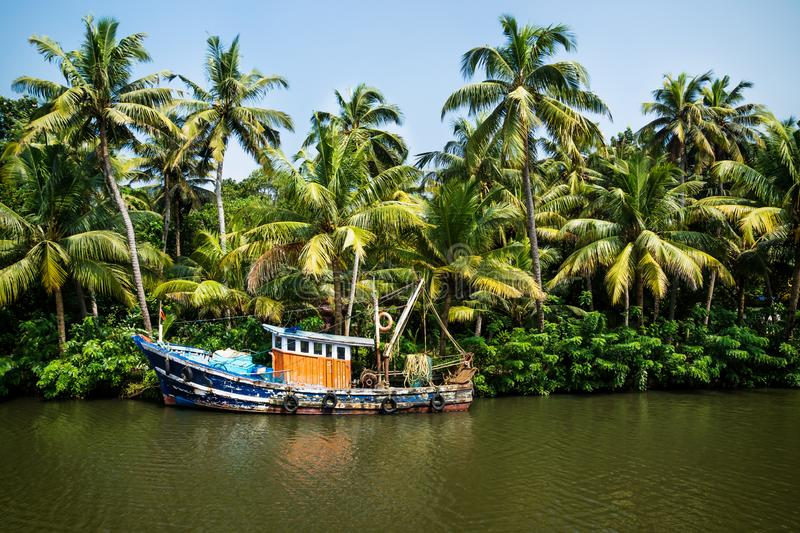 Old ocean fishing boat along the canal Kerala backwaters shore with palm trees between Alappuzha and Kollam, India 图库摄影