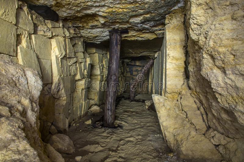 Old Odessa catacombs stock image