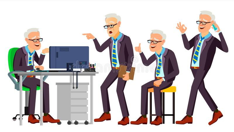 Old Office Worker Vector. Face Emotions, Various Gestures. Businessman Person. Smiling Executive, Servant, Workman. Old Office Worker Vector. Face Emotions stock illustration