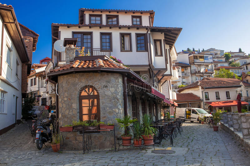 Old Ohrid Town, Macedonia. This is a picture taken early in the morning of a couple of lanes/streets in the old part of Ohrid town, Macedonia royalty free stock photos