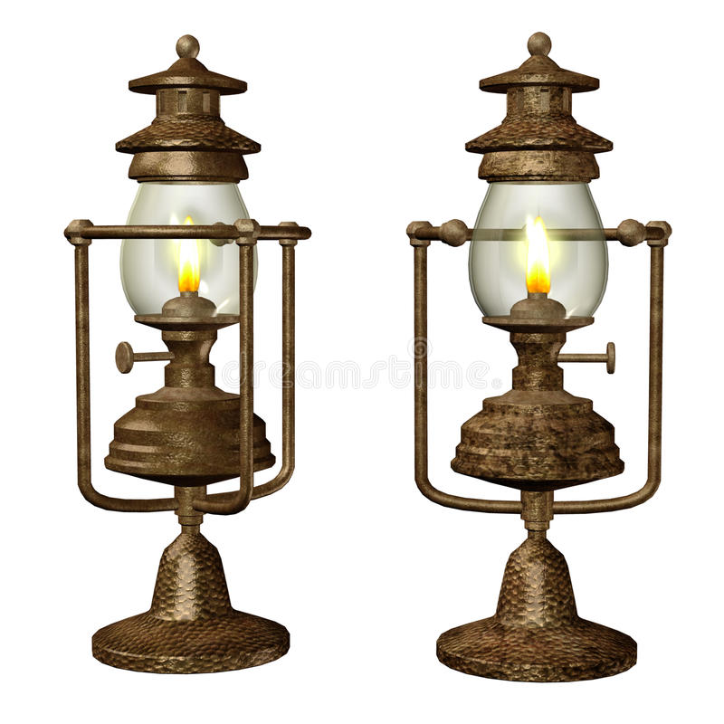 Download Old oil lamps stock illustration. Image of light, isolated - 17243378