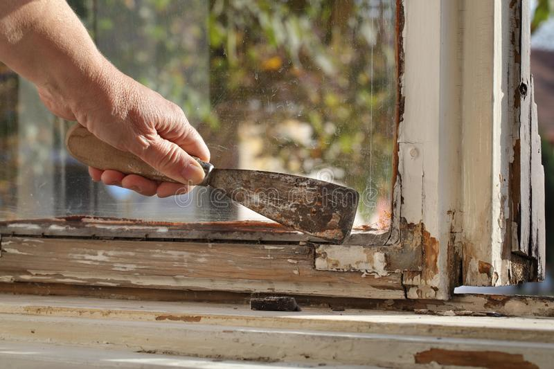 Old oil window glazing putty removing. Worker removing oil window glazing putty using putty knife tool, old window restoration stock images