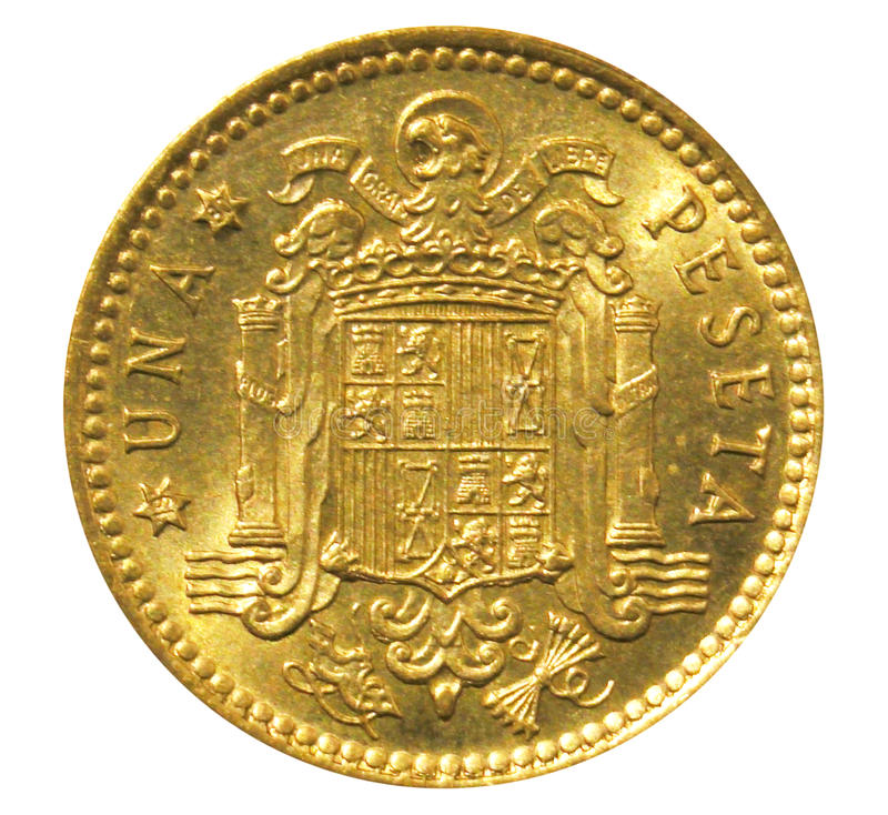 Old one peseta Spanish coin. Reverse royalty free stock image