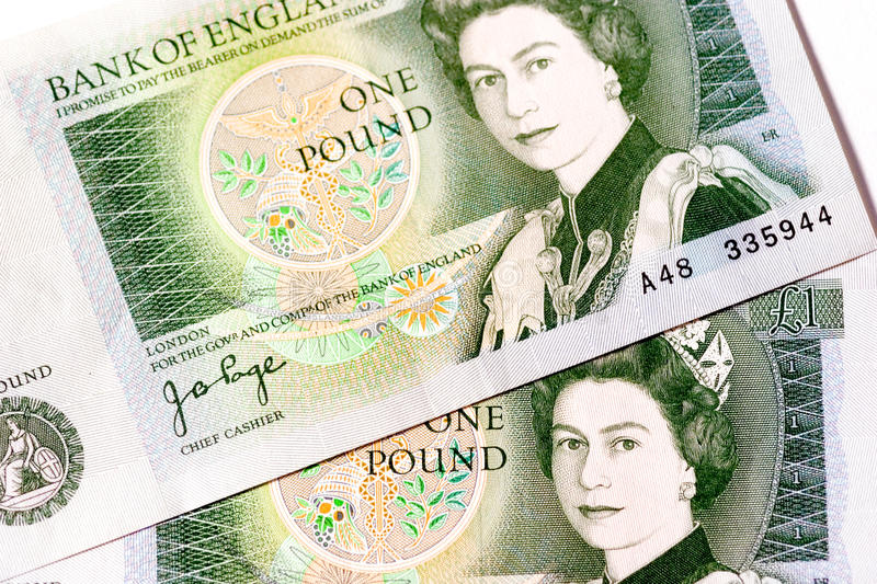 Old £1 (one pound) note royalty free stock photos
