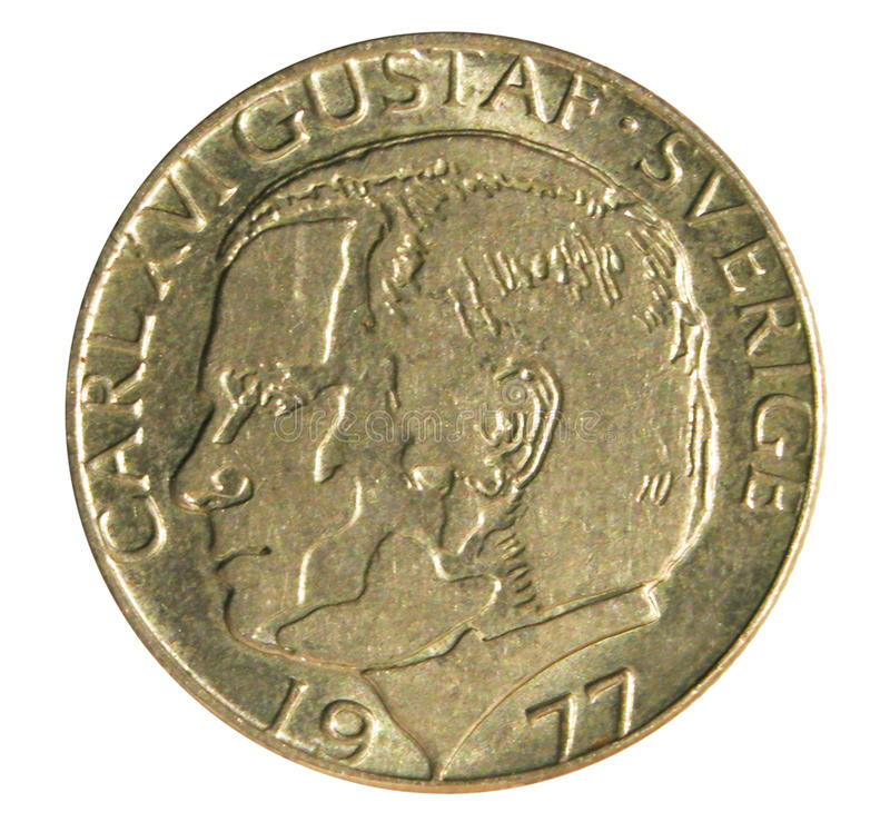 Old one Swidish krone coin. Obverse stock image