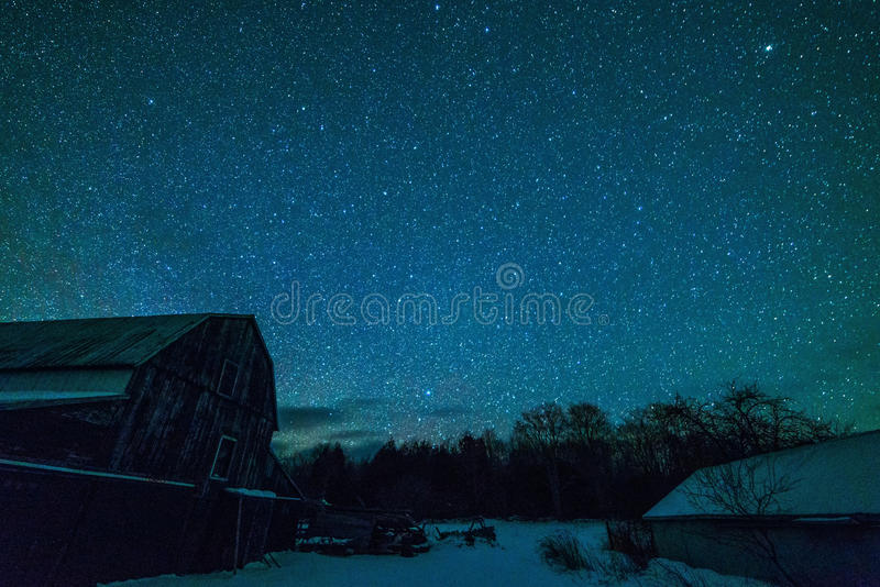 Old Ontario Barn and the night stars royalty free stock photos