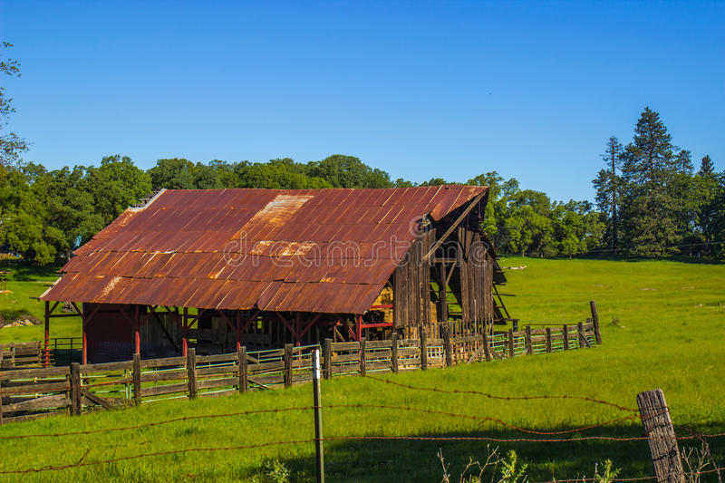 Old Open Air Barn In Field stock photography