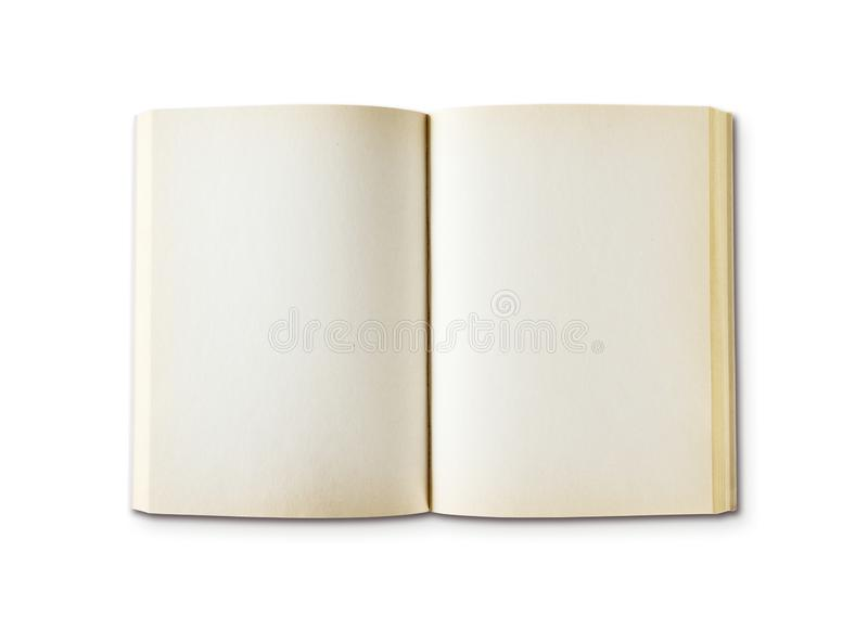 Old open blank book isolated on white. Old open blank book mockup, isolated on white. Top view royalty free stock photography