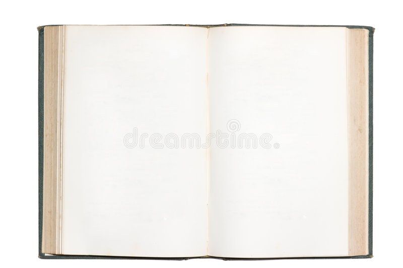 Old open book with blank pages isolated royalty free stock image