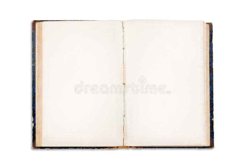 Old open book with blank pages isolated with clipping path stock photo