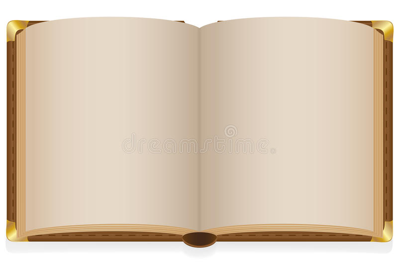 Old open book with blank sheets royalty free illustration