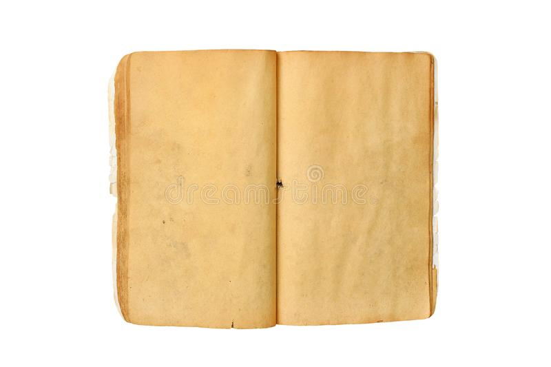 An old open book with blank yellow stained pages isolated on white background royalty free stock photo