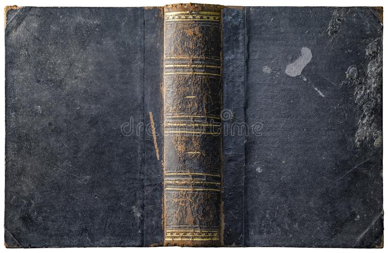 Old open book cover with worn textured grungy paper boards stock photo