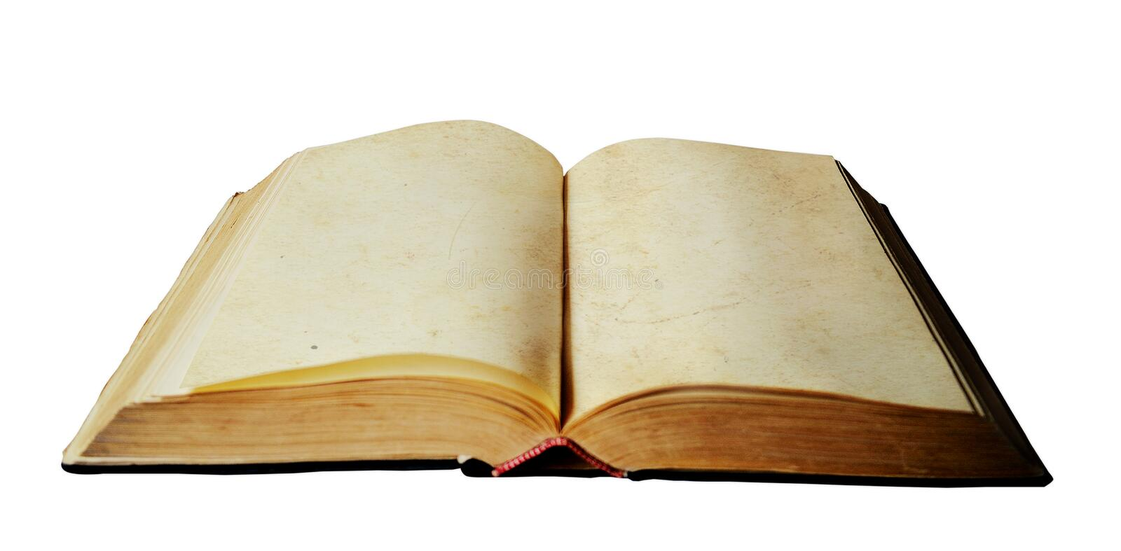 Old open book with empty pages stock image