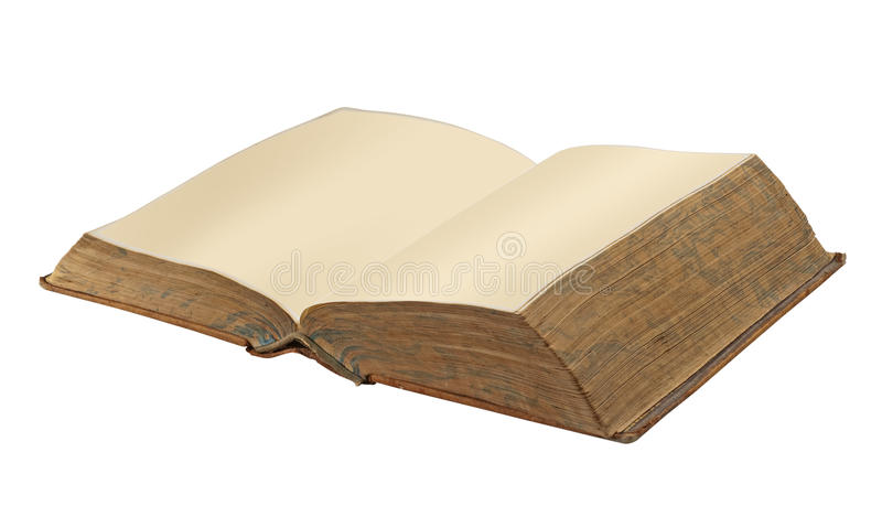 Old open book, isolated royalty free stock image