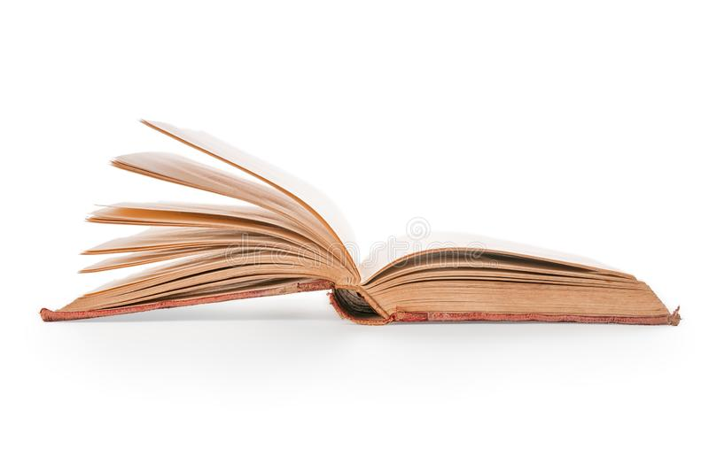 Old open book isolated with clipping path. Old open book. Isolated on white, clipping path included stock image