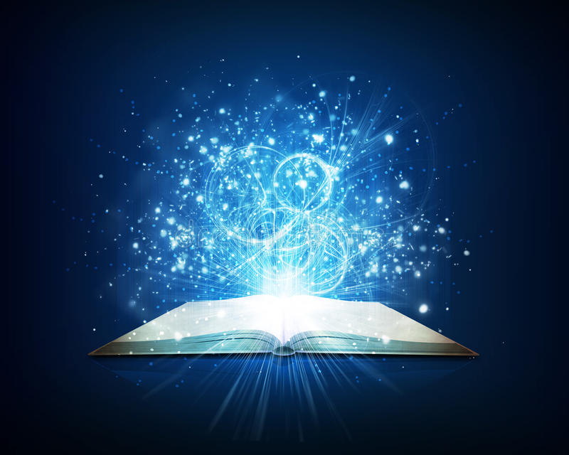 old open book with magic light and falling stars stock