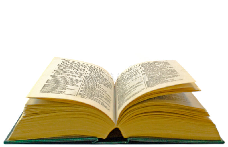 Old open dictionary stock photography