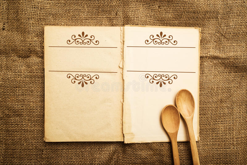 Old open recipe book royalty free stock photography