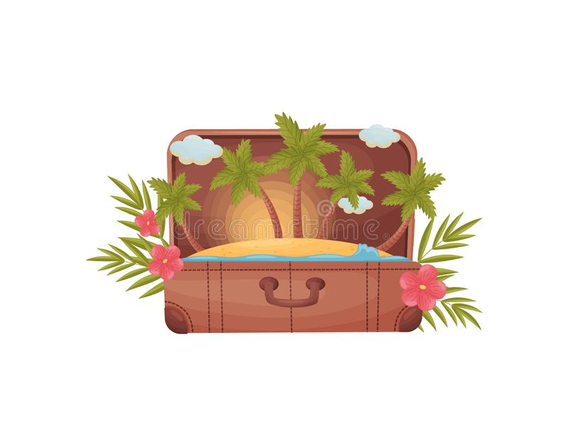 Old open suitcase with a raincoat and palm trees inside. Vector illustration on white background. stock illustration