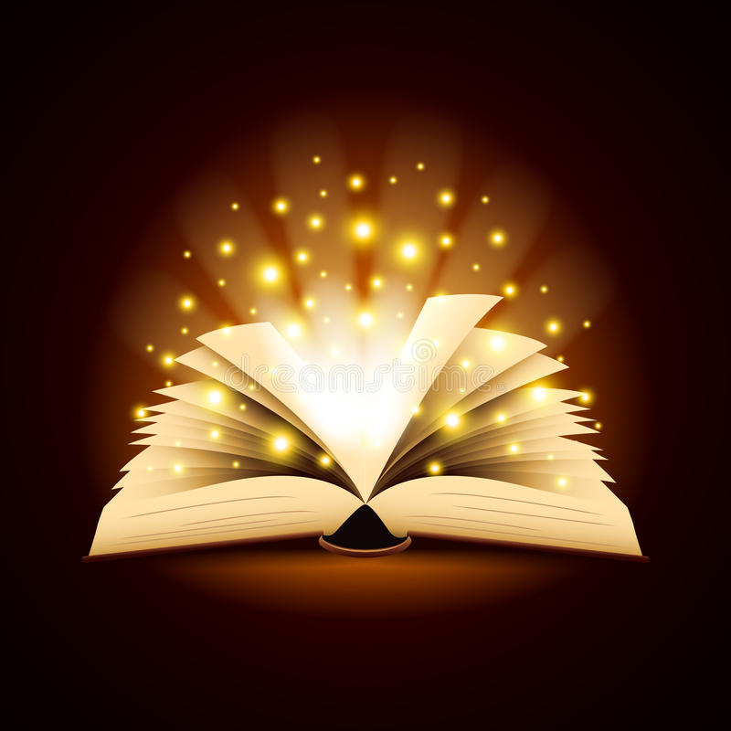 Old opened book with magic light vector background vector illustration